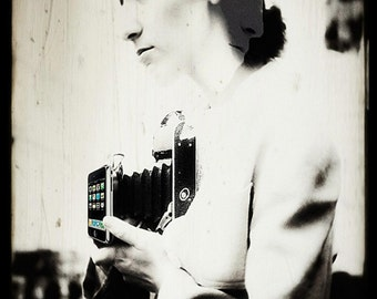 5x7 Digitally altered vintage photograph - The best camera is the one you're holding