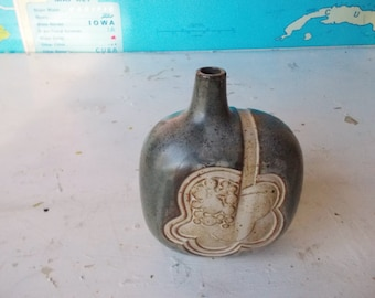 Vintage Dusky Blue Asymmetrical Art Pottery Vase