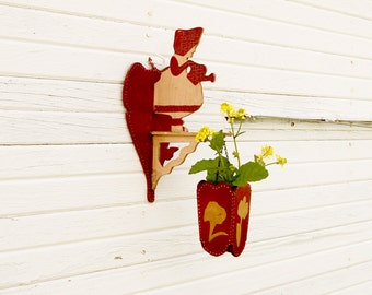 RARE Vintage 1920's- Sunbonnet Girl - Watering Can Girl Hanging Planter-Folk Art -Chippy Painted Wood