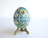 Blue  Easter Egg,  hand painted pysanka egg
