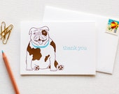 Thank You English Bulldog Letterpress Card