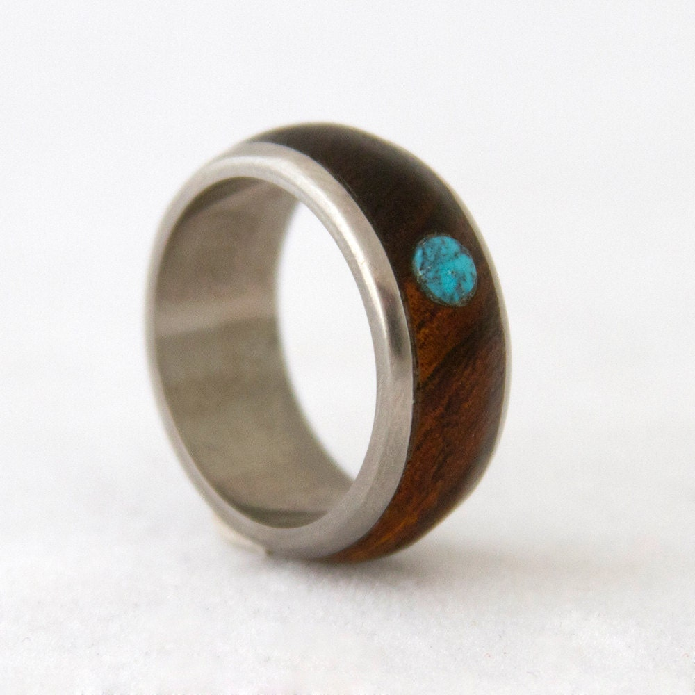 Titanium ring turquoise ring mens wedding band with wood ring for Mens turquoise wedding rings