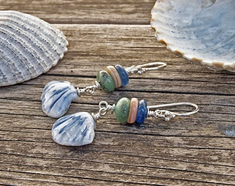 Blue Sea Shells - silver earrings with handmade blue porcelain shells, gemstones and shell beads