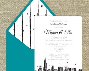 Chicago Skyline Rehearsal Dinner invitations, can be customized for any occasion; includes matching envelopes and return address printing