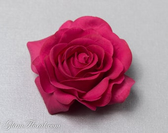 Raspberry Pink Rose Hair Clip / Brooch / Corsage, Petite Real Touch Rose Fascinator