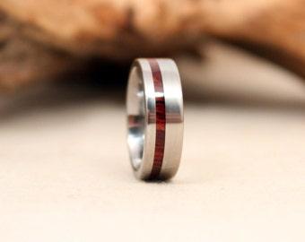 Cocobolo Wooden Ring with Titanium