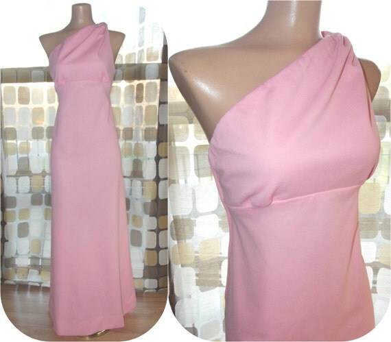 On HOld for trogstad41 until 11/15- Vintage 70s Sexy PINK One Shoulder Grecian Maxi Dress S/M Hostess Cocktail Gown