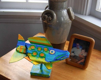 Table Top Fish Art - Colorful Painted Recycled Wood Fish Self Standing Table, Coffee Table or Shelf Decor