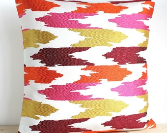 Embroidered Ikat Pillow Cover, Ikat Pillow Sham, Ikat Cushion Cover, Orange and Pink Throw Pillow, Pillowcase - Tidal Fiesta