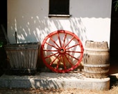 Rustic Home Decor - Red Wagon Wheel Photograph - Greece Photography - Brown Wall Art Old Wooden Farmhouse Print Wine Country Photo