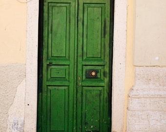 Emerald Green Door Photograph - Athens Greece Photography - Kelly Irish Print  Mediterranean Home Decor Rustic Wall Art Door Picture