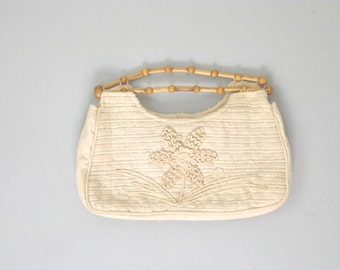 1970s Vintage Cotton and Bamboo Large Boho Clutch
