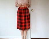 vintage women hot fire RED black yellow tartan checkered print high waisted pleated midi full knee long skirt (small - medium)