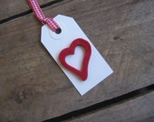 Red Heart Gift Tags Set of SIX Red Felt Heart White Gift Tag Treat Sack Tag Wedding Gift Tag SnowNoseCrafts