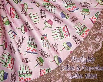 Happy Birthday Cakes & Cupcakes Sweet Lolita Birthday Skirt- ANY SIZE