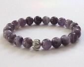 Amethyst Chakra Beaded Bracelet Lotus Mala Beads Yoga Inspirational Jewelry Gift Idea for Spiritual Friend Yoga Buddhist Meditation Bracelet