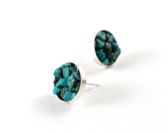 Genuine turquoise stud earring, sterling silver turquoise earrings, rough stone jewelry, gemstone studs, big, round cluster  by NatureLook