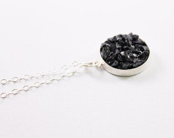 Black tourmaline necklace, sterling silver rough stone jewelry, rough gemstone necklace, raw stone necklace, natural tourmaline jewelry