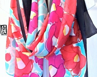 Large Silk Shawl Scarf Hand Painted, Japanese Camellia Floral Scarf, Pink Floral Scarf, Large Silk Wrap. 35x84 inches. 100% Silk.