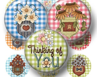 FLOWER POCKETS, Bottle Cap Images, Digital Collage Sheet, 1 Inch Circles, Printable Instant Download, Magnets, Bows, Glass Cabochons