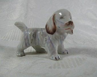 Vintage Spaniel Puppy Dog Porcelain Figurine * White with Thin Light Blue Stripes