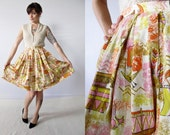 Vintage 60s Skirt . Brightly Colored Ship Print High Waisted Pleated Skirt. Size Extra Small / Small
