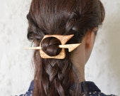 Travel to the wild- tribal ethical animal print brich wood cream hair pin shawl pin - theancientmuse