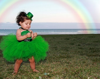 READY to SHIP Emerald Green St Patricks Day Leprechaun Baby Girls Tutu Dress Choose size 3T to 5/6 yrs