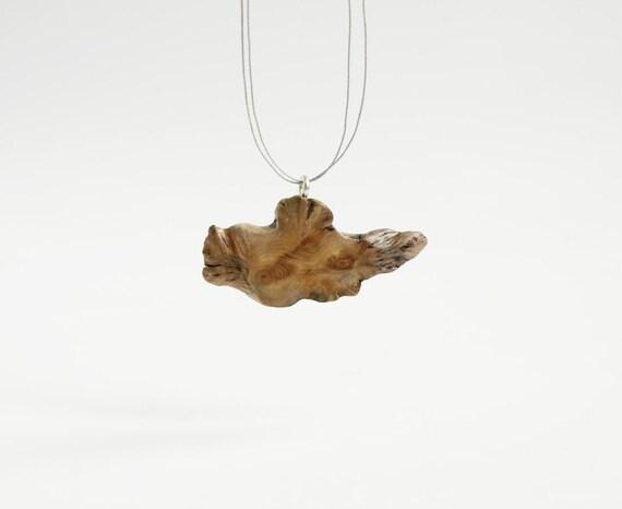 Juniper no 3. natural art. unique deformed wooden pendant on grey string. wooden jewelry. wooden necklace.
