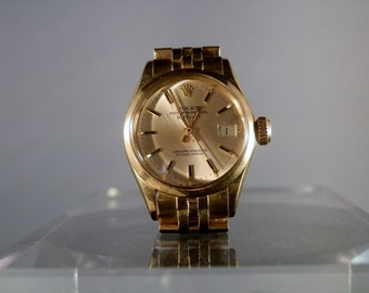 Vintage Rolex Watch 18k Gold Oyster Perpetual Lady Datejust Excellent Condition Authentic Rolex Ready to Wear Gift Quality