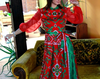 Vtg 60s Mod Maxi Dress / Sheer Sleeves / Abstract Floral