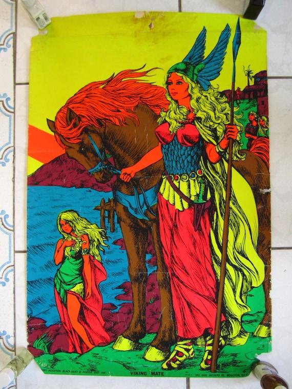 Lot of THREE 1970's Vintage Black Light Posters... Viking