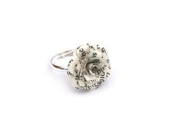 Book Flower Ring, Natural Spring Gift -  Alice in Wonderland, Harry Potter, etc - preloved book & adjustable silver tone Base