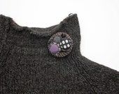 Crochet cluster circle pin brooch with fabric buttons, brown purple, OOAK