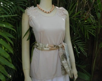 Milano Peachy Petal Pink Embellished Shoulders Sleeveless Stretch Top, sz L