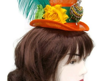 Irish St Patrick's day Frida Kahlo orange and green mini top hat fascinator fun for Festival, Carnivals ,Weddings