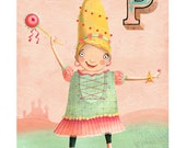 "Princess illustration for little girl - Personalized nursery art print - Baby girl gift 11""x17"""