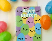 Happy Easter Eggs Card, Smiling Egg Spring Holiday Greeting Cards, Cute / Kawaii Pastel Emoticon Faces