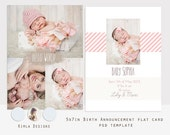 INSTANT DOWNLOAD 5x7 in Birth Announcement flat card, psd template, Baby Baby, vol1