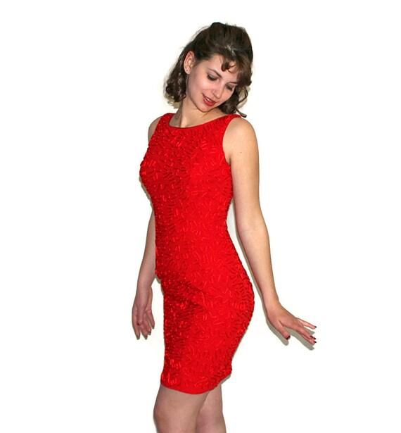 598f6d9a4a53 vintage red dress by carmen marc valvo soutache cocktail bodycon party 90s  couture d.