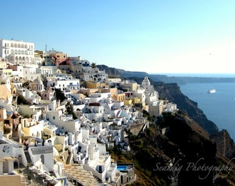 Santorini Greece Panoramic Beautiful View Photograph Print. Landscape Photography. Island. Home Decor. Greek Travel Photography. Wall Art