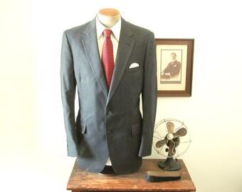 1970s Pure Virgin Wool Suit Jacket Mens Vintage Gray Pinstriped Blazer / Sport Coat from Austin Reed of Regent Street - Size 44 Long (LARGE)