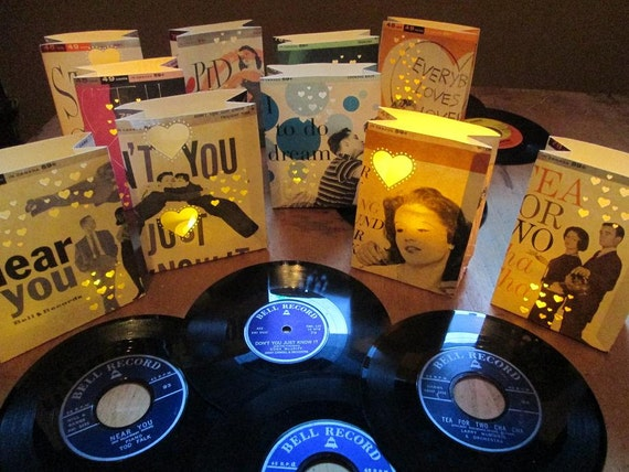 Reserved for beth 10 record luminaries vinyl records retro for Vinyl record decoration ideas
