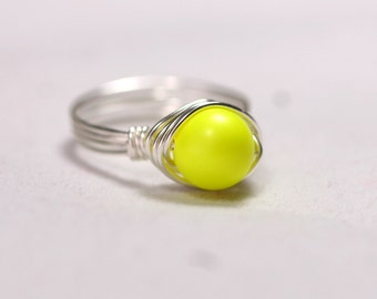 Neon Yellow Ring Wire Wrapped Jewelry Handmade Sterling Silver Jewelry Handmade Neon Ring Neon Jewelry Bright Yellow Ring