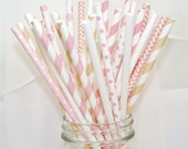 Bridal BLUSH and Ivory Champagne Wedding Day - 100 Straws Blush PINKs and Bubbly Champagne CREME Bachelorette,chic  Spa Day Party,Tea Party