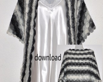 A Shawl Crochet Pattern for a Vintage Edwardian Style Classic Shawl   PDF Instant Download.