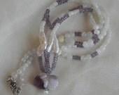 Bunny rabbit amethyst bead pendant w baroque pearls & amethyst necklace , beaded jewelry , rabbit fertility amulet , moonstone bead jewelry