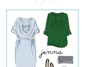 Maternity top / nursing dress pattern: Jenna cowl-front dress maternity pattern, PDF