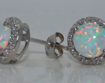14Kt White Gold Opal & Diamond Round Stud Earrings