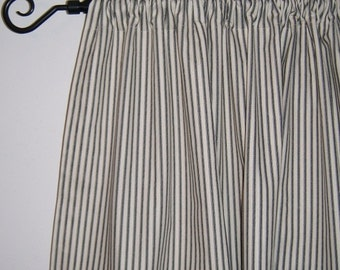 Ticking Stripe Cafe Curtains, Navy Blue, Black, Aqua, Gray, Red, Brown, Kitchen Cabinet, Door, French Door, Country, Beach Decor, Striped